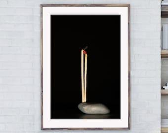Abstract Wall Art, Matches Print, Fine Art Print, Abstract Art, Tobacciana Print, Smoking Wall Art, Abstract Wood print, Light Matches Print
