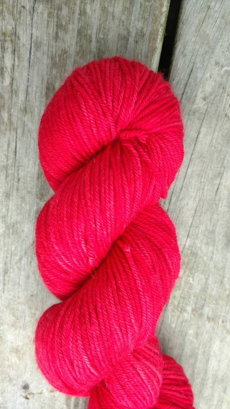 100g 245 yards 7525 SW Merino WoolNylon Hand Dyed Yarn DK or Fingering Sock Red Tonal Oh Vera Red!