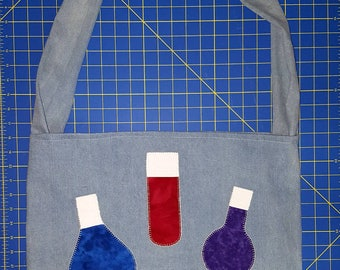Custom Chemistry Science Lab Large Handmade Denim Hobo Tote Bag with beakers and flasks appliques.