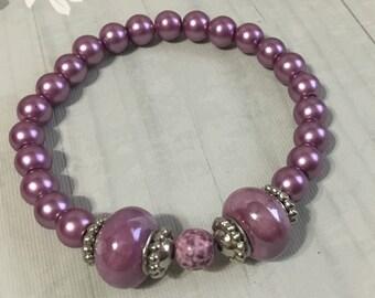 stretch bracelet - stretch stack bracelet - stretch beaded bracelet - lavender bracelet - mauve bracelet - Handmade beaded bracelet