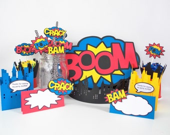 Superhero Party Kit, Superhero Party In A Box includes cupcake wrappers, cupcake toppers, centerpiece, food labels, straw flags, favor boxes