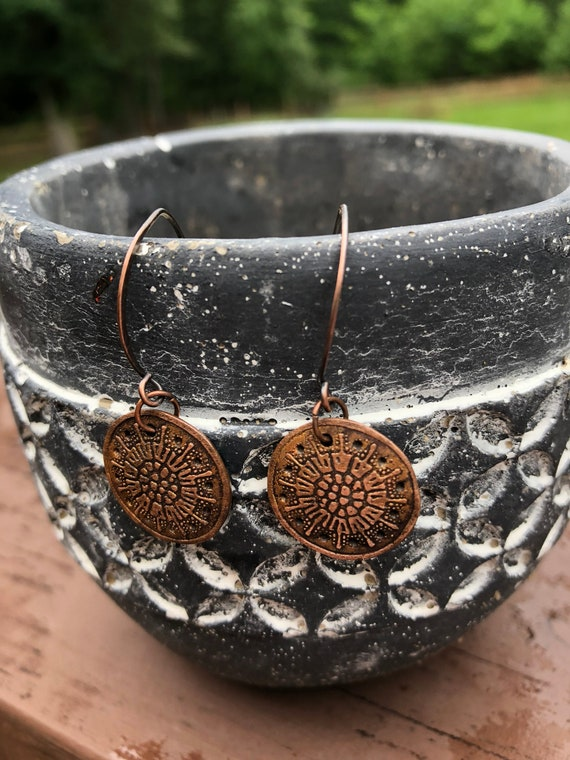 Long Drop Earrings with Vintage Finish Copper and Sterling Silver Earwires Etched Copper Mandala Earrings Seventh Anniversary Gift