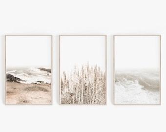 Set of 3 Prints, DIGITAL Prints, Wall Art, Coastal Art Prints, Pampas Print, Printable Wall Art, Beach Prints, Beach Wall Art, Poster Prints