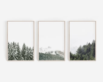 Set Of 3 Prints Nature Wall Art Decor Mountain Print Forest Green