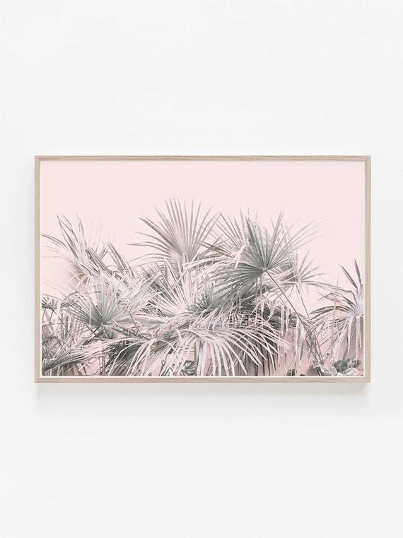 Horizontal Print Horizontal Wall Art Pink Wall Art Palm | Etsy