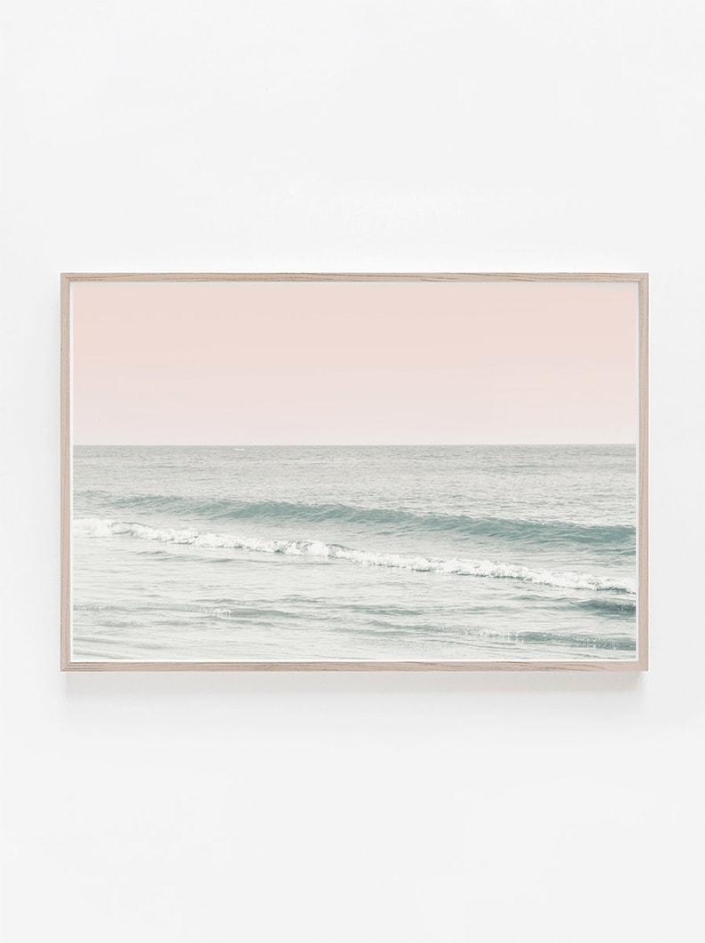 Horizontal print horizontal wall art beach print beach wall art pastel print pink wall art beach photographylarge wall artart print