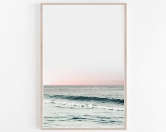 Beach Print,Print,Wall Decor,Beach Photography,Beach,Wall Print,Printable Wall Art,Blush Pink,Large Wall Art,Ocean Print,Wall Art,Art Prints