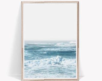 Ocean Print,Blue Wall Art,Ocean Decor,Waves Print,Blue Art Print,Digital Download,Ocean Art,Waves Wall Art,Beach Print,Ocean Wall Art,Blue