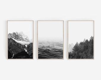 Wall Decor,Black And White Prints,Nordic Prints,Large Wall Art,Home Decor,Digital  Prints,Wall Art,Nature Print,Forest Print,Nature Wall Art