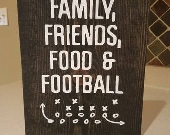 Family Friends Food And Football Signs Home Decor Wood