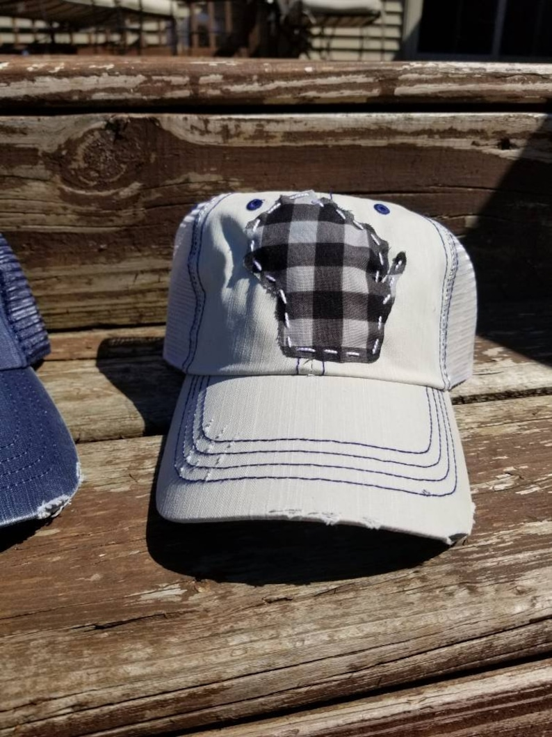 Trucker hat with checkered Wisconsin patch, Hand sewn Wi patch hat, Trucker  hat, Wisconsin apparel, hat, distressed hat