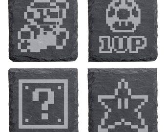 Retro Super Mario Engraved Slate Coasters