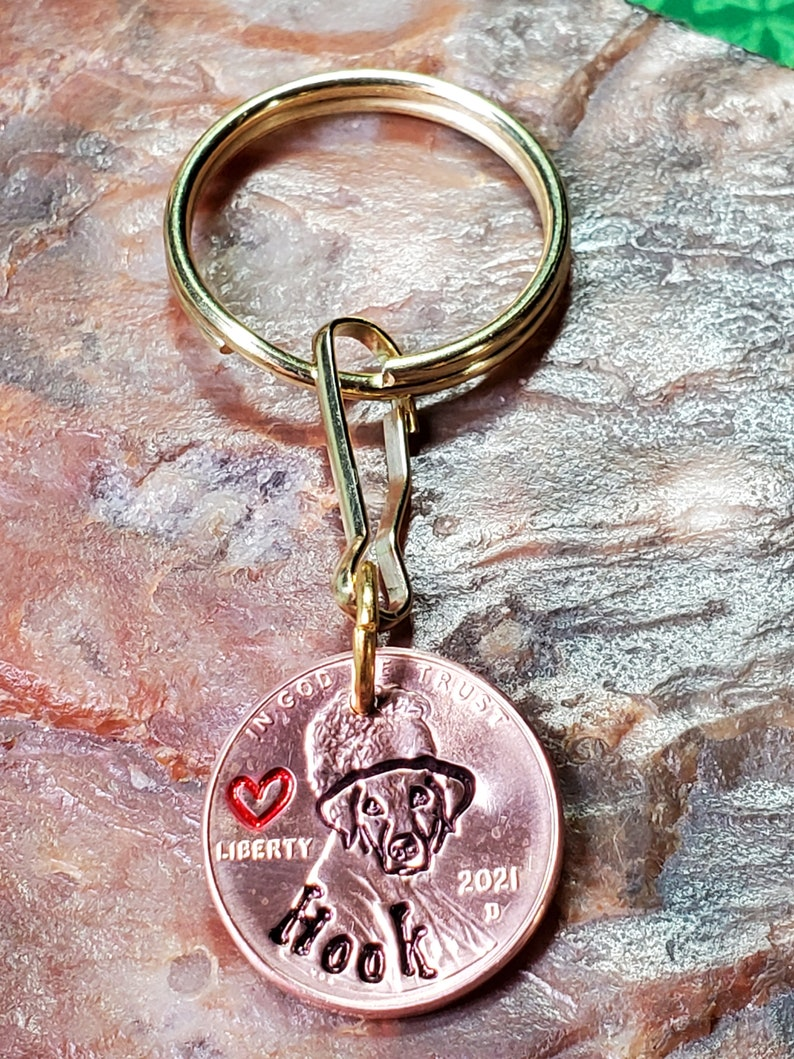 WEIMARANER Personalized Hand-Stamped PENNY Keyring key ring keychain choice of 1959-2021