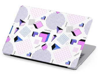de62ec037a58 MacBook Case White Purple Blue Pink Retro Pattern MacBook Pro MacBook Air Case  11 Inch 12 Inch 13 Inch 15 Inch 80s 90s Grid Geometric Cube