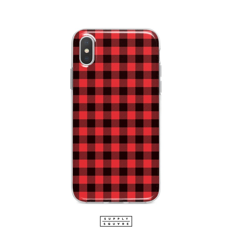 competitive price 2b46a 0b507 Black And Red Plaid iPhone X Case iPhone 8 Case Samsung Galaxy Case S8 Plus  S7 Plus iPhone 8 Plus iPhone 7 Plus Red Plaid Pattern Fabric Art