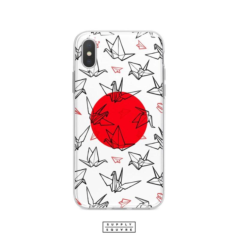 279857e221 Japanese Flag Origami Paper Crane Pattern iPhone Case Samsung Galaxy Case  iPhone X Case iPhone 8 Case Galaxy S8 Case S7 Plus Case White Phon