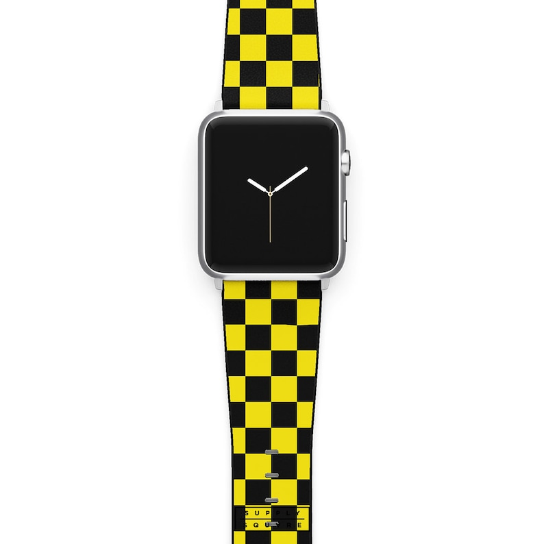 4f110f79d Apple Watch Band Black And Yellow Checks Leather Watch Strap