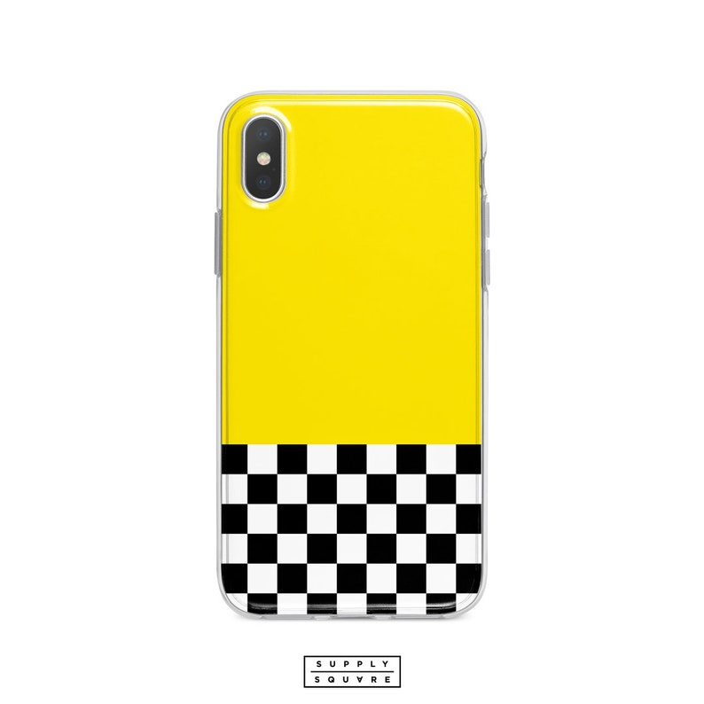 premium selection f9eb2 244d0 Yellow Black And White Checkers iPhone X Case iPhone Xs Max Xr iPhone 8  iPhone 8 Plus iPhone 7 Plus iPhone 6s Taxi Cab Retro iPhone Plus Art