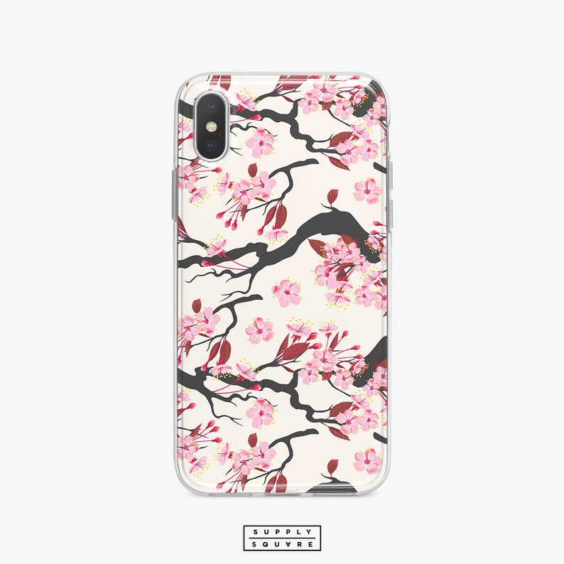 new arrival 2f1cc 01d74 Pink Cherry Blossom iPhone X Case iPhone 8 Case Samsung Galaxy Case S8 Plus  S7 Plus iPhone 8 Plus iPhone 7 Plus iPhone 6s Plus Cute Japan SS