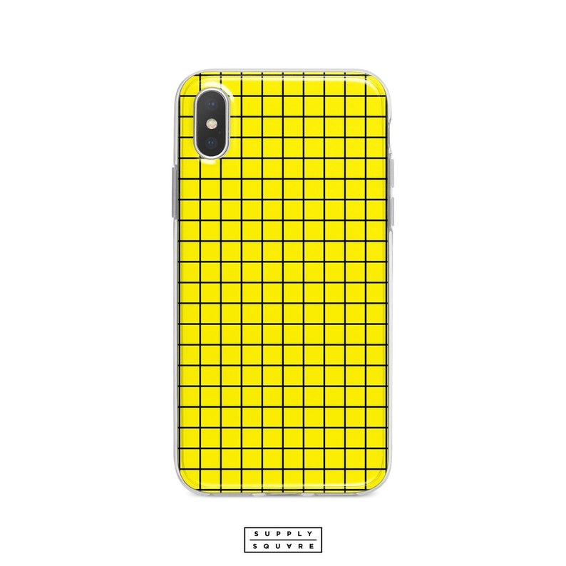 best sneakers f0a6d f53a3 Black And Yellow Grid iPhone X Case iPhone Xs Max iPhone Xr iPhone 8 Plus 7  Plus Bright Yellow Minimalist iPhone 6s Plus iPhone SE Case Art
