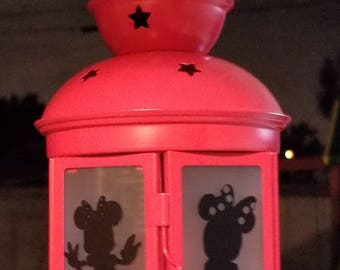 Small Handcrafted Minnie Lantern with electronic candle