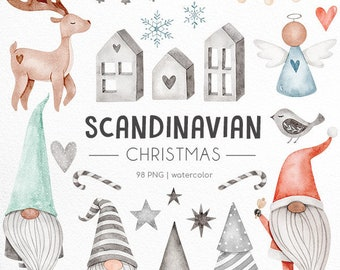 Scandinavian Christmas watercolor clipart, Cute Santa watercolor graphics, christmas gnome png, scnadinavian folk art decor