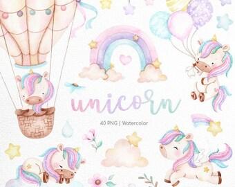 Unicorn Watercolor clipart,  Instant download, rainbow clip art , Magic unicorn graphics, candy color, party supplies