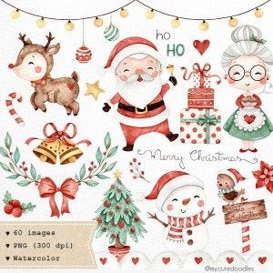 sweet christmas watercolor clipart cute santa watercolor etsy etsy