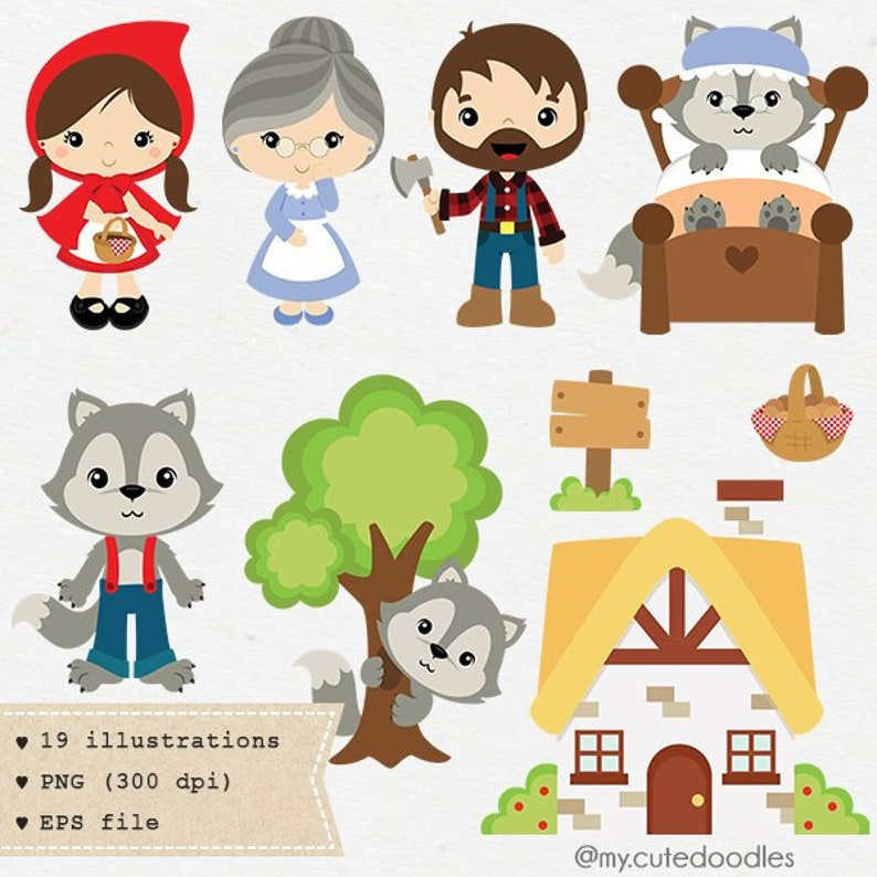 Little Red Riding Hood clipart Wolf clipart cute woodland ...