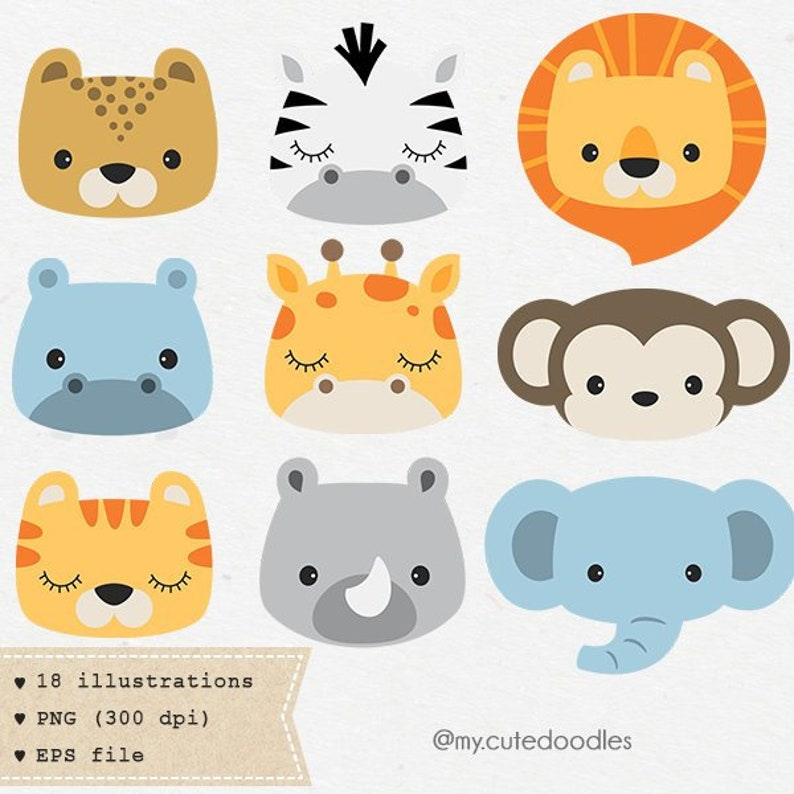 Safari Animals Clipart Safari Baby Shower Safari Nursery Etsy