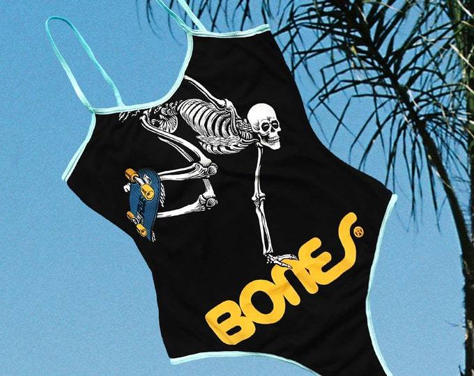 Skate Skeleton Bodysuit (Black/Light Pink trim)
