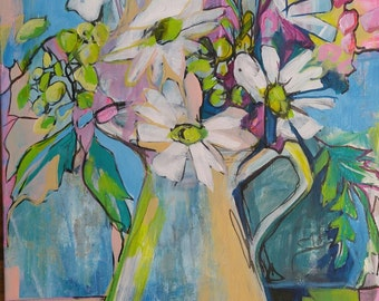 Flowers in pitcher original acrylic painting on canvas