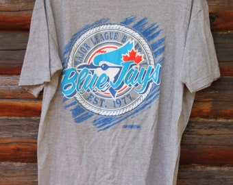 e517ad31a Vintage 1991 Toronto Blue Jays Grey MLB Baseball Adult Size T-Shirt +