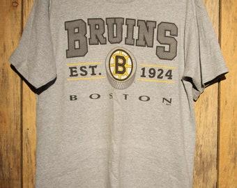 0daaf9769c50 Vintage Boston Bruins NHL Hockey Pro Player Grey Gray T-Shirt Size L +