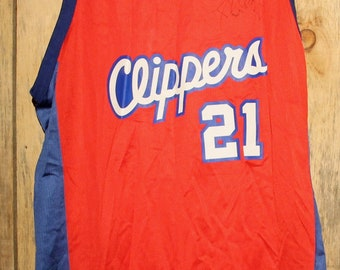 930cfd2fd6d Vintage Champion Los Angeles Clippers Darius Miles  21 Autographed  Basketball Jersey + Size 52