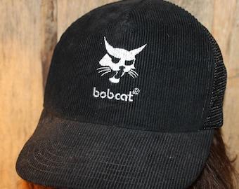 c5acf888 Vintage Bobcat Corduroy Black Rare Baseball Trucker Construction Hat Adult  Snapback !