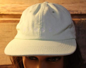 863352e7 Vintage Lime Light Green STUSSY Adjustable Adult Size Baseball Hat Cap + Strap  Back