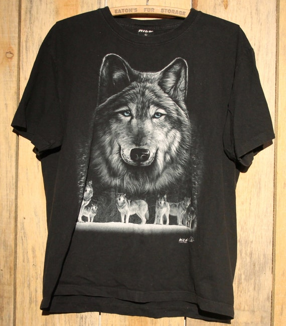 The Mountain Unisex Adult Black Wolf Wolves T Shirt