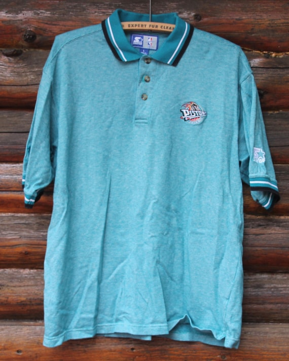 best sneakers 9f0eb 9749a Vintage Detroit Pistons STARTER Teal Polo Short Sleeve NBA Basketball Shirt  Size Large +