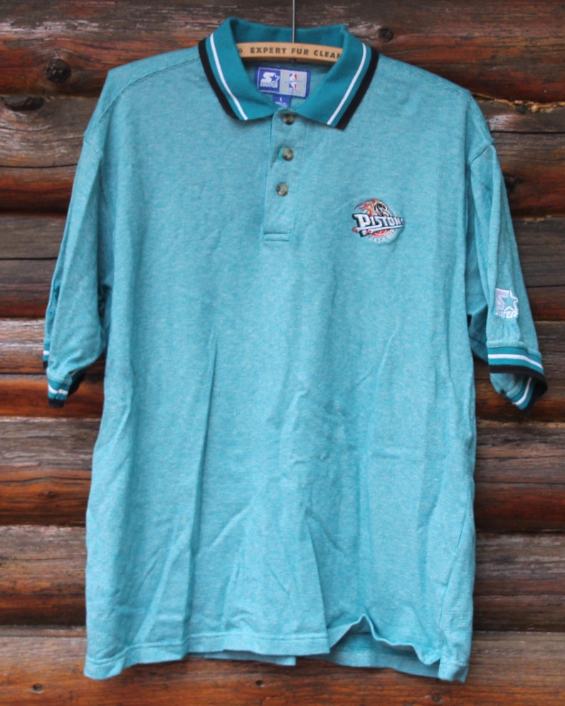 4e849bdab1a3 Vintage Detroit Pistons STARTER Teal Polo Short Sleeve NBA