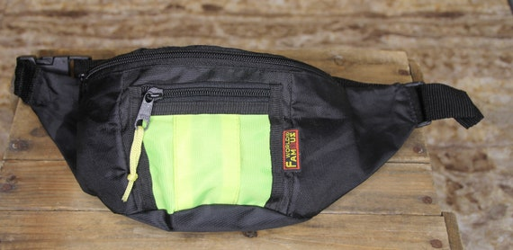 Vintage World Famous Black & Neon Green Fanny Pack