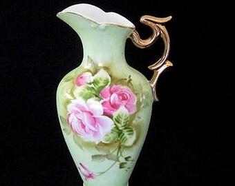 Vintage Lefton China Hand-Painted Pink Rose Bouquet Porcelain Pitcher No. 4072 w. Gild Handle