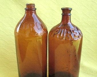 Two Vintage 32 oz Brown Glass Bleach Bottles Purex & Clorox