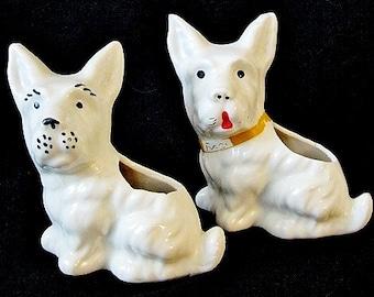 Two Vintage White Ceramic Scottie Dog Planters Figurines
