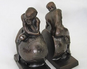 Beautiful Antique Spelter Thinking Boy Bookends With Copper Wash Easy To Use Other Antique Home & Hearth