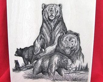 Oregon Bears Marble Etching by Montana Artist Jim Borgreen
