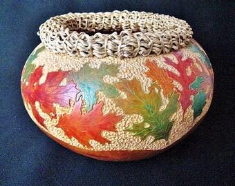 Gourd Art Bowl Autumn Oak Leaves Cheryl Burns Fall Decor