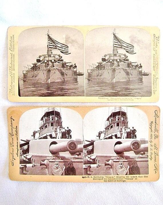 2 USS Oregon acorazado tarjetas estereoscópicas español | Etsy