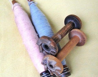 Four Vintage Wooden Sewing Spools / Bobbins