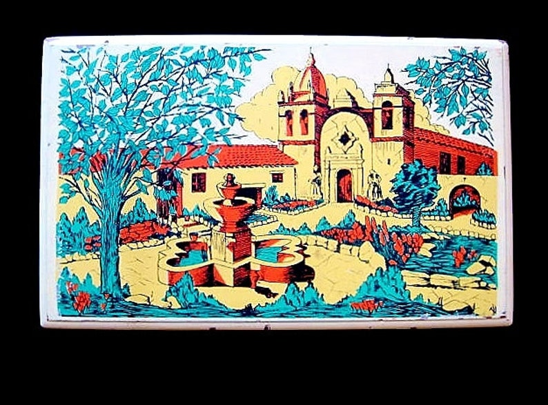 Rare Hadley /& Sons Redwood Dates Box with Spanish Mission Painted Lid California Yosemite Brand Fruits
